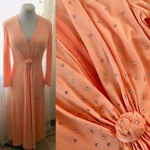 Vintage TALLY *Size M* Knit Rhinestone Gown Dress